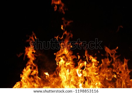 Abstract fire flames isolated on black background. #1198853116