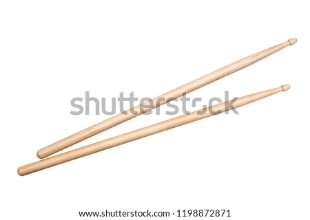 two drumsticks on white background #1198872871