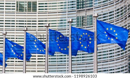 European Flags in front of the European Commission Headquarters building in Brussels, Belgium, Europe #1198926103