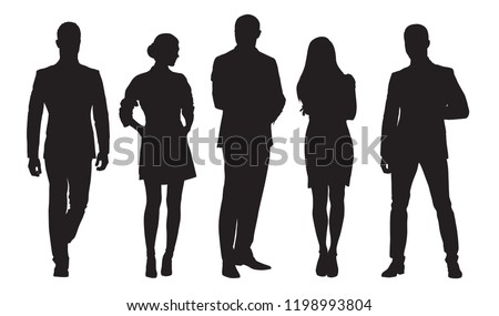 Business men and women, group of people at work. Isolated vector silhouettes Royalty-Free Stock Photo #1198993804