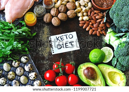 Ketogenic diet concept. A set of products of the low carb keto diet. Green vegetables, nuts, chicken fillet, flax seeds, quail eggs, cherry tomatoes. Healthy food concept. Keto diet food frame. #1199007721