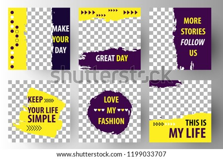 Editable Post Template Social Media Banners for Digital Marketing. Promo Brand Fashion. Stories. Streaming. Yellow violet. Vector Illustration #1199033707