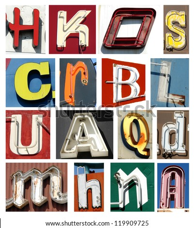 vintage neon letters collection
