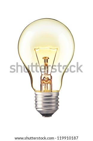 Glowing yellow light bulb,  Realistic photo image turn on tungsten light bulb isolated on white background Royalty-Free Stock Photo #119910187