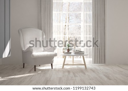 White room with armchair and winter landscape in window. Scandinavian interior design. 3D illustration #1199132743