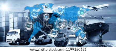 World map with logistic network distribution on background. Logistic and transport concept in front Container Cargo freight ship for Concept of fast or instant shipping, Online goods orders worldwide #1199150656