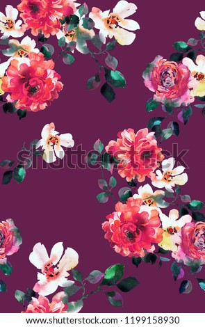 Seamless floral pattern. Watercolor blossom roses with foliage. Opulent botanical ornament in vintage style. Fashion Design for fabric, textile, texture, background, wrapper, wallpaper or surface.