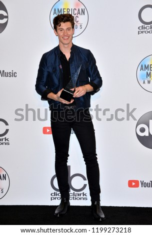 LOS ANGELES, CA. October 09, 2018: Shawn Mendes at the 2018 American Music Awards at the Microsoft Theatre LA Live.  #1199273218