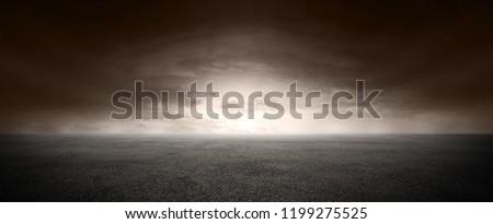 Black Landscape Dark Street Floor and Sunset Horizon #1199275525