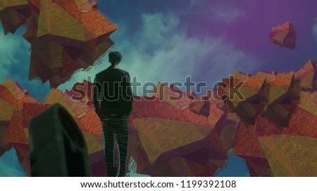 2d illustration. Imaginary dreamlike motivational illustration. Person dreaming. #1199392108