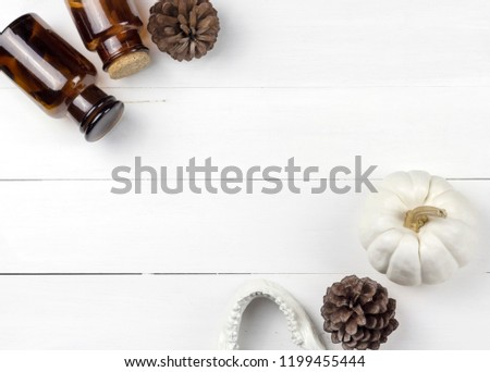 Minimal scientist laboratory halloween with white skull and pine cones. #1199455444