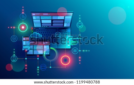 Creation responsive internet website for multiple platforms. Building mobile  interface on screen of laptop, tablet, smartphone. Layout content on display devices. Conceptual banner of web technology. Royalty-Free Stock Photo #1199480788