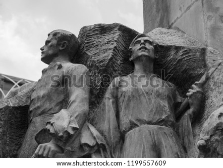Budapest, Hungary - 3 august 2018: detail of marble statue of Mihaly Vorosmarty Hungarian poet in the homonymous square, made by the sculptor Ede Kallos. #1199557609