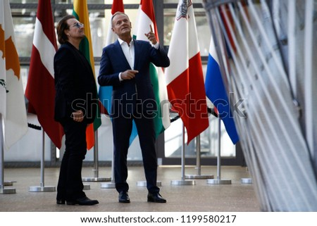 Brussels, Belgium. 10th October, 2018. Donald Tusk, the President of the European Council welcomes Bono, U2 singer and co-founder of the One campaign at European Council headquarters #1199580217