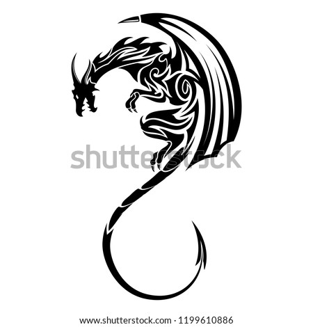 Vector image of a black winged dragon. Medieval winged monster. Knights hunter. Symbol of wisdom and force. Spirit of Celts. Black tribal tattoo. Vector illustration.