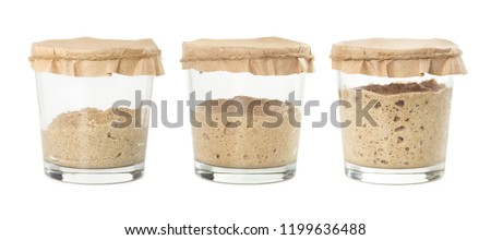 Process of fermentation of homemade rye bread sourdough isolated on white background. Active rye starter for bread. Healthy eating concept. #1199636488