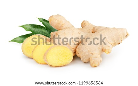 Ginger with leaves Isolated on white background #1199656564