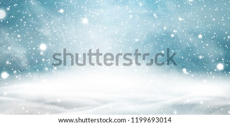 Natural Winter Christmas background with sky, heavy snowfall, snowflakes in different shapes and forms, snowdrifts. Winter landscape with falling christmas shining beautiful snow. vector. Royalty-Free Stock Photo #1199693014