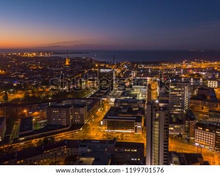 Aerial view of night city Tallinn Estonia #1199701576