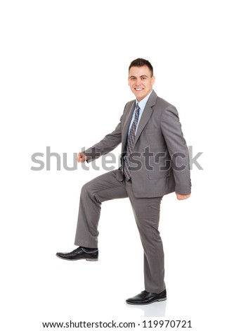 Handsome young business man go walk making step up side happy smile, businessman wear elegant gray suit and tie full length portrait isolated over white background #119970721