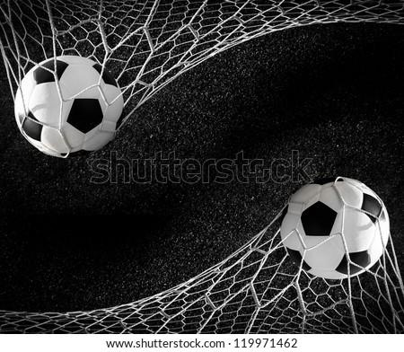 Soccer ball in goal, success concept #119971462