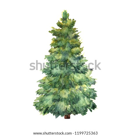 Watercolor green Christmas tree on white background. Isolated hand drawn elements for prints, cards #1199725363