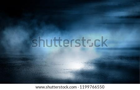 Background of empty dark room with concrete floor. Empty walls, neon light, smoke. #1199766550