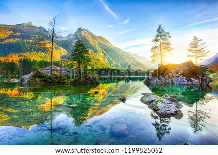 Fantastic autumn sunset of Hintersee lake. Beautiful scene of trees on a rock island. Location: resort Ramsau, National park Berchtesgadener Land, Upper Bavaria, Germany Alps, Europe #1199825062