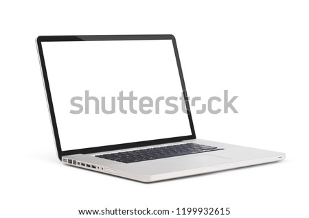 Left side view of Modern slim design laptop with usb and headphone port, blank screen, Aluminum material, isolated on white background with clipping path #1199932615