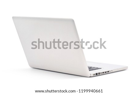 Back view of Modern slim design laptop, Aluminum material, isolated on white background with clipping path #1199940661