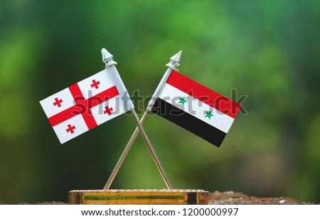 Syria and Georgia small flag with blur green background #1200000997