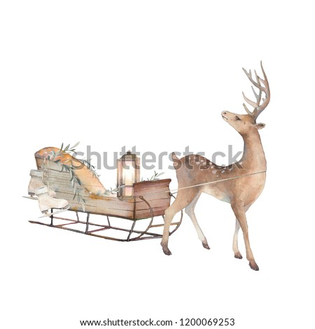 Vintage sleigh art. Watercolor winter time illustration. Cozy isolated decorative composition: sled, candle lamp and deer on white background. Hand drawn Christmas design.