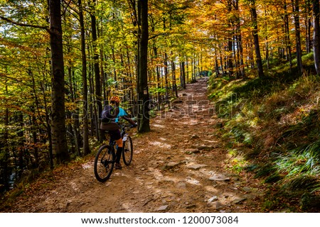 Cycling, mountain bikeing woman on cycle trail in autumn forest. Mountain biking in autumn landscape forest. Woman cycling MTB flow uphill trail. #1200073084