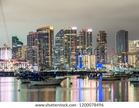 San Diego, California. Night view of Downtown buildgs with water reflections. #1200078496