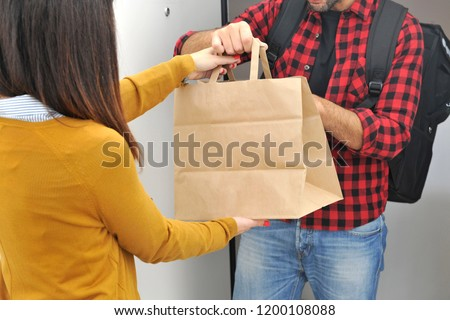 Anonimous delivery food service at home - you can eat the restaurant food where you prefer at home or at the office - anonimous bag with food order from the people - shopping bag  #1200108088