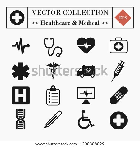 Vector set collection of 16 medical and healthcare related icons isolated on white background Royalty-Free Stock Photo #1200308029