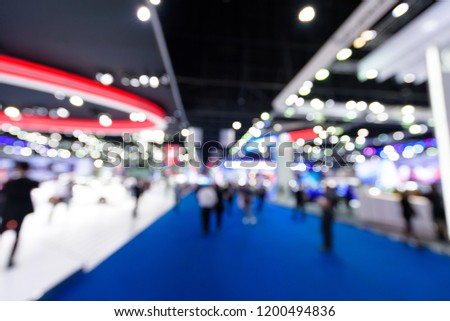 Blurred background of event exhibition show public hall, business trade concept #1200494836