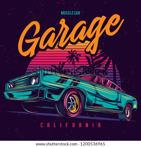 Original vector illustration of an American muscle car in retro neon style. Royalty-Free Stock Photo #1200536965