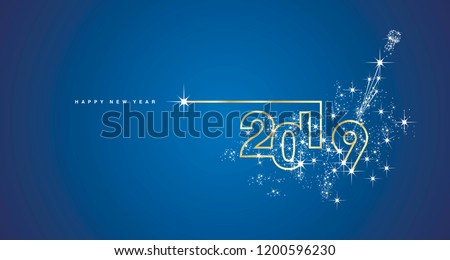 New Year 2019 line design spark firework champagne gold shining white blue vector