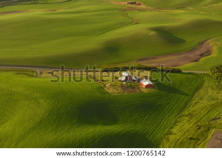 Red barn surrounded by wheat fields in spring - aerial #1200765142