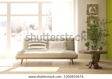 White room with sofa and winter landscape in window. Scandinavian interior design. 3D illustration #1200810676