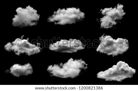 Collections of separate white clouds on a black background have real clouds. White cloud isolated on a black background realistic cloud. white fluffy cumulus cloud isolated cutout on black background #1200821386