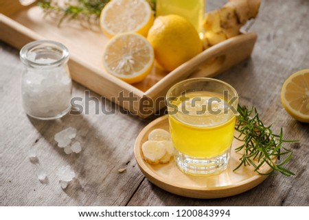 Ginger Ale - Homemade lemon and ginger organic soda drink, copy space. #1200843994