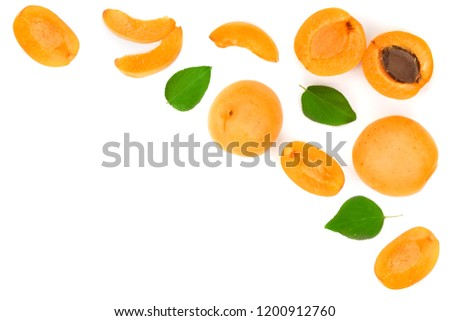 Apricot fruits with leaves isolated on white background with copy space for your text. Top view. Flat lay pattern #1200912760
