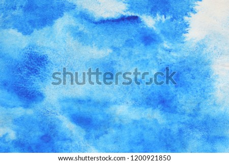 Abstract hand painted blue watercolor splash on white paper background, Creative Design Templates  #1200921850