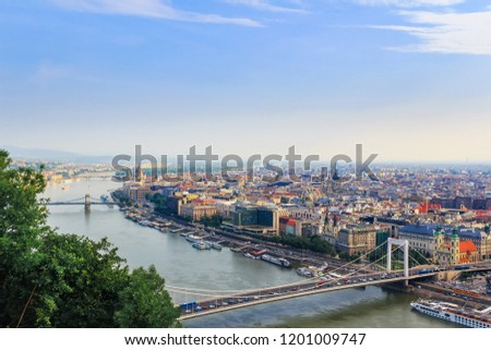View from above on the Budapest city, historical district and Danube river in Hungary. #1201009747