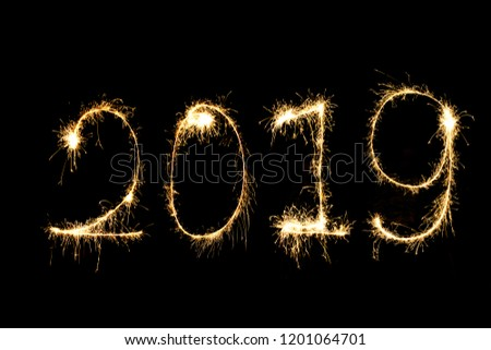 happy new year 2019 from sparkle on black background #1201064701