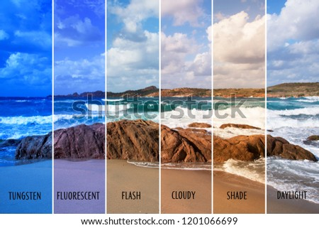 picture of a beach with different color balances, such as tungsten, fluorescent, flash, cloudy, shade or daylight