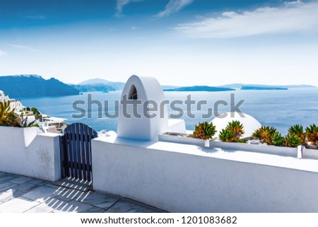 Santorini, Greece. Picturesque details of traditional cycladic Santorini houses on cliff #1201083682