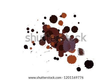 2d illustration. Colorful ink splashes. Paint splatters on bright material. Multi color dots. Watercolor on white paper.  #1201169776